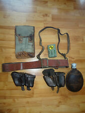 WWII GERMAN-Bulgarian ARMY OFFICER LEATHER BELT & STRAP canteen Bakelite WW2