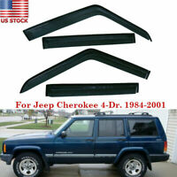 For 84-01 Jeep Cherokee 4-Dr Window Visors Rain Guards Vent Tape-On Smoke Tinted