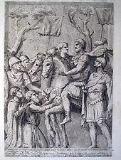 MAGNANIMITà MARCO AURELIO,IMPERATORE ROMANO,CASSIO,1650,GUERRA,INCISIONE ANTICA