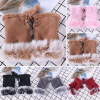 Womens Ladies Winter Fur Fingerless Gloves Mittens Soft Casual Warm Fur Lined