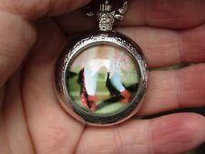 women Wizard of Ozz ruby slippers art necklace pendant pocket watch silver tone