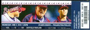 2010 Braves vs Phillies Ticket: Derek Lowe win/Billy Wagner save