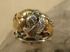 Sterling Silver Eagle Ring Signed Jb Sz 11.75 Artisan Handcrafted Gold Leaves