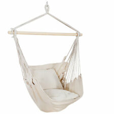 Hammock Rope Chair Patio Porch Yard Tree Hanging Air Swing Outdoor  Deluxe Beige