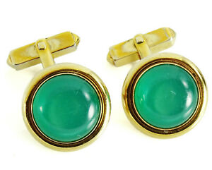 Swank Vintage Cufflinks Green Moonglow 1940s Round Angled Stem Cuff Links