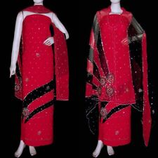 RED-BLACK GRGT CREPE SALWAR KAMEEZ SUIT MATERIAL HEAVY DUPATTA WORK LADIES DEN