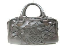Auth LOEWE Amazona DarkBrown Leather Handbag