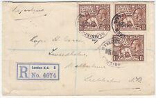 1924 3x BRITISH EMPIRE EXHIBITION 1 1/2d brown on reg cover *LONDON-WALKERBURN*