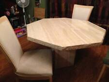 Marble Dining Table and 4 Wood/Upholstered Chairs