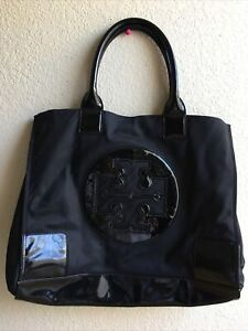TORY BURCH Solid Black Ella Large Nylon Glossy Tote Bag X-Large Logo Pre-Owned