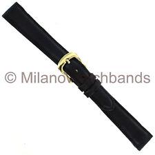 14mm Milano Black Handmade Genuine Calfskin Stitched Padded Ladies Watch Band