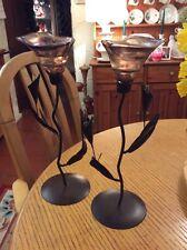 A PAIR OF BROWN METAL STEM / BROWN GLASS TEA LIGHT HOLDERS FLOWERS #D