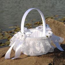 White Flower Girl Basket Satin Rose Flower Crystals for Wedding Ceremony