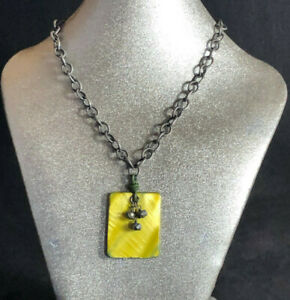 SILPADA Sterling Silver Necklace Green MOP Pyrite Oxidized Rolo Chain 29g #1362
