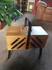 Vintage Wooden Cantilever Sewing Box With Legs