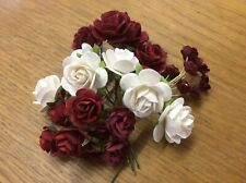 26 FLOWERS REDS & WHITE Mulberry Paper Flowers crafts card