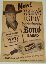 HOPALONG CASSIDY BOND BREAD HANDOUT WPTZ TV CHANNEL 3 PHILADELPHIA