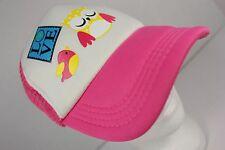 Pink Love Sleeping Owl Bird Chick Trucker Baseball Hat Cap Snap Back Adjustable