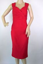 Rock Steady Red Bodycon Diva Dress Large Stretch Midi Pleated Empire Waist