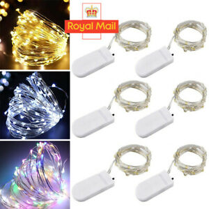 1/6 Pack 2M 20 LED Battery Micro Rice Wire Copper Fairy String Lights Party G