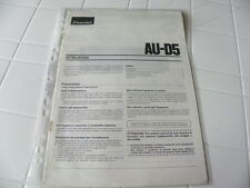 Sansui AU-D5 Owner's Manual  Operating Instructions Istruzioni New