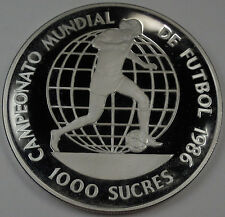 1986 Ecuador Large  Silver Proof 1000 Sucres- World cup Soccer(Football)