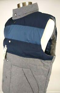 Mens Original Penguin XL Down Filled Quilted Vest Grey Blue Outerwear Hood $175