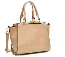 Dasein Shiny Faux Leather Handbags Top Handle Satchel Bag/Shoulder Bag, Beige