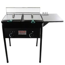 Deep Fryer Double Basket 10 QT Stainless Steel Propane Gas Outdoor Heavy Duty