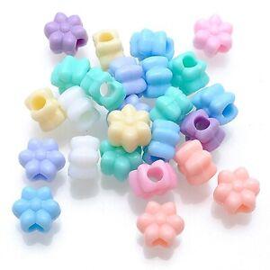 100 Mixed Pastel Color Acrylic Flower Pony Beads 12mm Kids Craft Kandi Bracelet