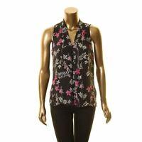 VINCE CAMUTO NEW Women's Black Floral-print Sleeveless Blouse Shirt Top XS TEDO