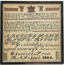Antique 1864 School Child Charlotte Frow Alphabet Embroidery Needlework Sampler