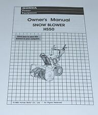 Honda HS50 Snowblower 2-Stage Owner's Manual track wheel drive