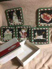 Vtg Pimpernel England Cork Backed Christmas Coasters Cat, SnowmaN Santa, Rendeer
