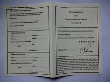ABE Vespa Moped Operating License Blanko Type Pack 2 Papers Rip-Proof Document