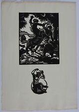 BROUTELLE, lutte de centaures, gravure sur bois, 1920