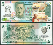 5 Pesos NDS, POPE JOHN PAUL II BEATIFICATION 2011 w/ Stamp Banknote #2