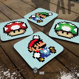 Gamer Mario Drinks Coaster Collection Mancave Shed Garage Snes 8Bit Pixel Retro