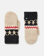 Joules Womens Wilbury Fairisle Knitted Mittens - Oat Fairisle - One Size