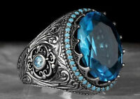 925 Silver Turkish Handmade Sapphire Ring Women Wedding Jewelry Gift Size 6-13