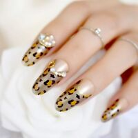 Long Oval Acrylic Nail Rhinestones Leopard Press On Nails Tips Manicure art Tool