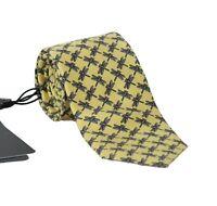 NEW $200 DOLCE & GABBANA Tie Yellow 100% Silk Dragonfly Print Classic Necktie