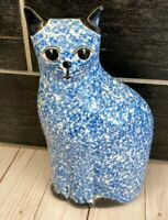 """Vintage MCM Speckled  Pottery Ceramic CoOL CAt Kitty  Figurine 8 1/4"""""""