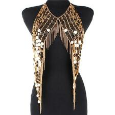 Metal Sequin bead & Gold Chain Fringe Vest Body Jewelry Bib Necklace Armor
