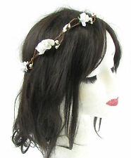 White Rose Flower Hair Crown Wreath Garland Headband Headdress Bridal Vtg 967