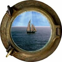 Huge 3D Porthole Sailing Boat Ship Scooner at Sea View Wall Stickers Decal 134