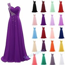 Long One Shoulder Chiffon Ball Gown Bridesmaid Formal Prom Party Evening Dresses