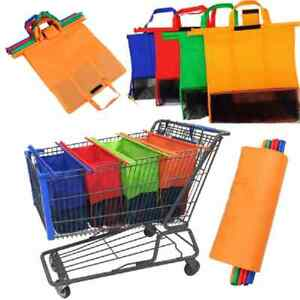 4 Pcs New Shopping trolley bags Supermarket Large Folding Durable Shopping Bags