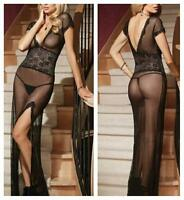 Sexy V Neck Sheer Lace Nightwear Lingerie Dress Gown G-String Black