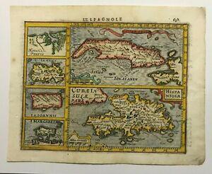 CUBA SANTO DOMINGO 1613 MERCATOR HONDIUS ATLAS MINOR NICE UNUSUAL ANTIQUE MAP